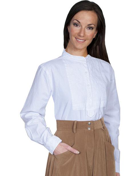 Rangewear by Scully Paisley Bib Inlay Long Sleeve Top, White, hi-res
