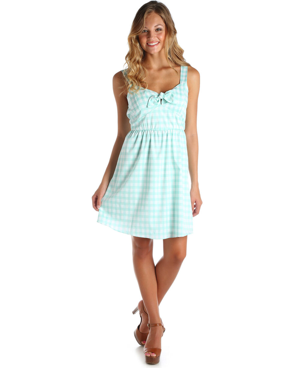 Wrangler Women's Green/White Gingham Western Dress, Green, hi-res