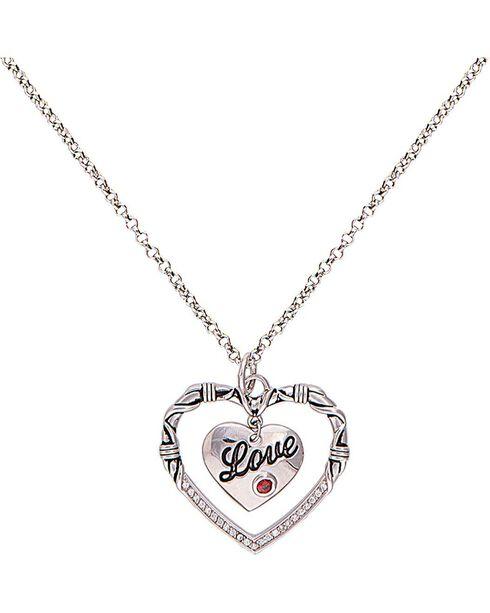 Montana Silversmiths Women's Heart to Heart Necklace, Silver, hi-res