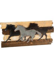 BB Ranch Running Horses Metal and Wood Wall Décor, , hi-res