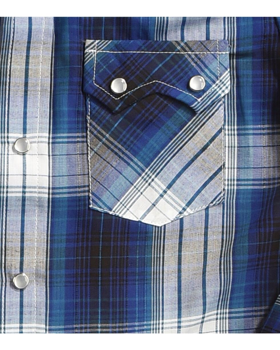 Ely Cattleman Boys' Blue Textured Plaid Long Sleeve Shirt , Teal, hi-res