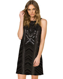 Miss Me Women's Black Sleeveless Embroidered Dress , , hi-res