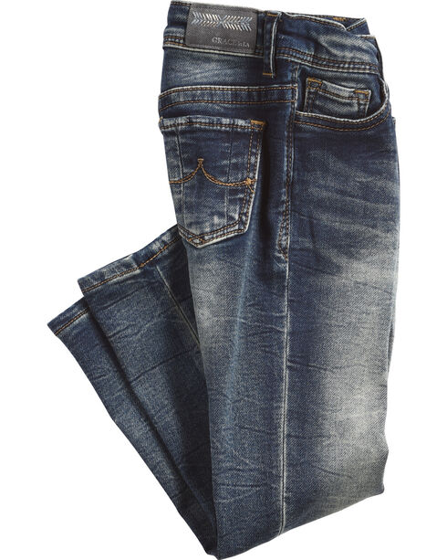 Grace in LA Girls' (4-6X) Simple Pocket Jeans - Skinny , Indigo, hi-res