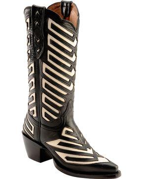 Justin Women's Chevron Inlay Vintage Western Boots, Black, hi-res