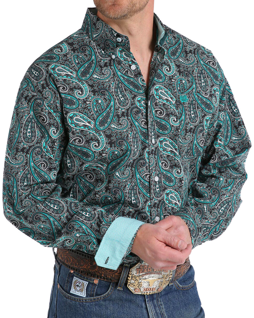 Cinch Men's Paisley Print Long Sleeve Button Down Shirt, , hi-res