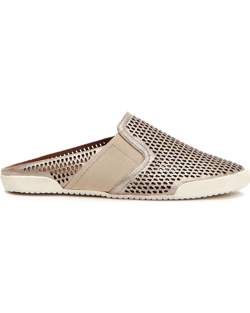 Frye Women's Silver Melanie Gore Perf Mule Shoes , Silver, hi-res