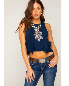 Shyanne Women's Faux Suede Floral Crop Top, Navy, hi-res
