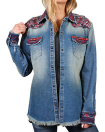 Drift Wood Women's Embroidered Heavy Weight Chambray Shirt, , hi-res