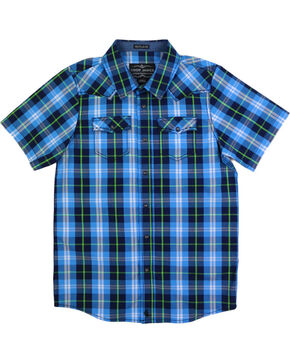 Cody James® Boys' Plaid Short Sleeve Shirt, Blue, hi-res