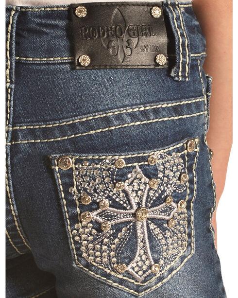 Rodeo Girl Embellished Cross Denim Shorts , Indigo, hi-res