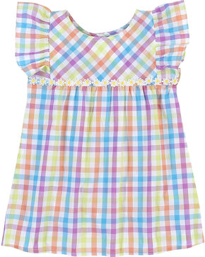 Wrangler Toddler Girls' Plaid Ruffle Sleeve Tunic , Multi, hi-res