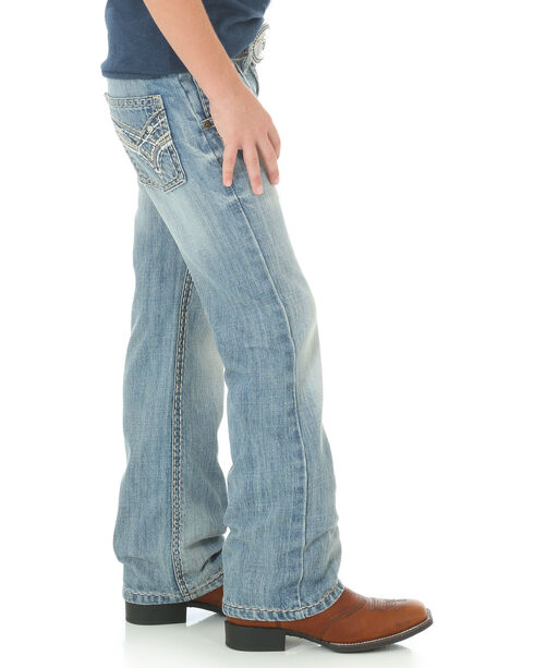 Wrangler Rock 47 Boys' Blue Country Slim Jeans - Boot Cut , Blue, hi-res