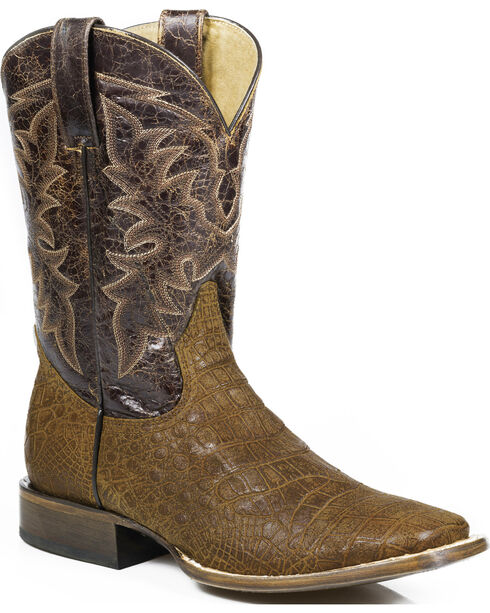 Roper Men's Coco Belly Alligator Print Western Boots, Brown, hi-res