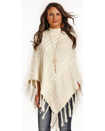 Powder River Outfitters Women's Cream Cable Knit Fringe Poncho, , hi-res