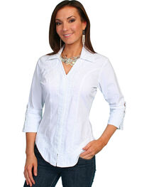 Scully Women's 3/4 Sleeve Blouse, White, hi-res