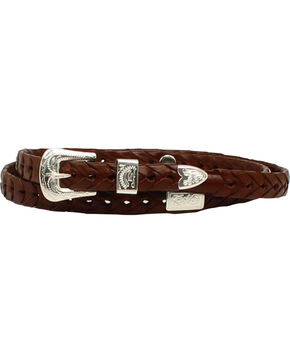 M & F Western Men's Braided Leather Concho Hatband, Brown, hi-res