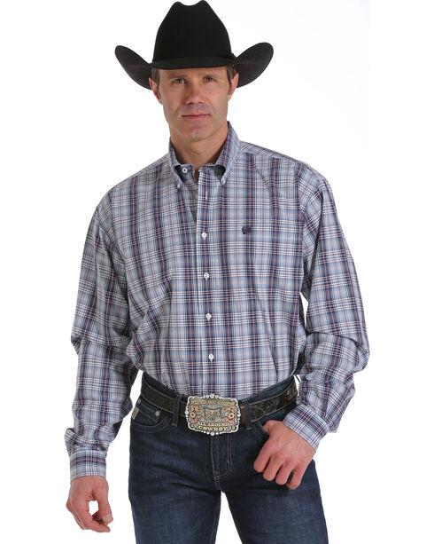 Cinch Men's Glen Plaid Button Down Long Sleeve Shirt, White, hi-res