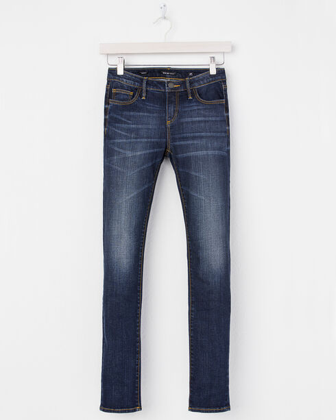 Miss Me Girls' (7-14) Blue Fleur De Lis Jeans - Skinny  , Indigo, hi-res
