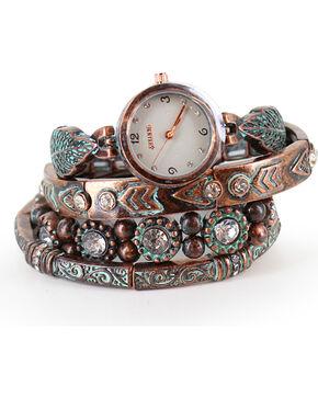 Shyanne Women's Patina Watch Bracelet Set, Rust Copper, hi-res