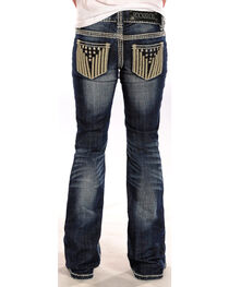 Rock & Roll Cowgirl Girls' Stars and Stripes Jeans - Boot Cut , , hi-res