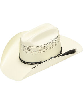 Twister Bangora Straw Cowboy Hat with Braided Band, Natural, hi-res