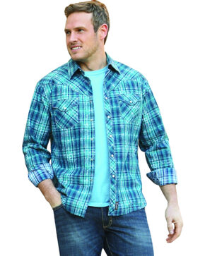 Wrangler Retro Men's Long Sleeve Blue Plaid Snap Shirt, Blue, hi-res