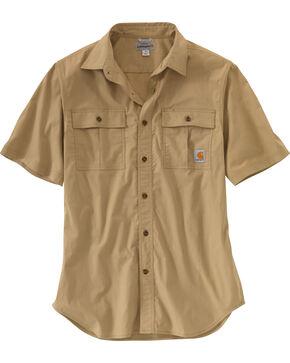 Carhartt Men's Foreman Short Sleeve Work Shirt - Big & Tall, Beige, hi-res