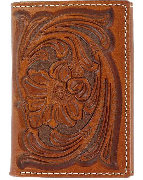Nocona Men's Floral Handtooled Tri-Fold Wallet, Tan, hi-res