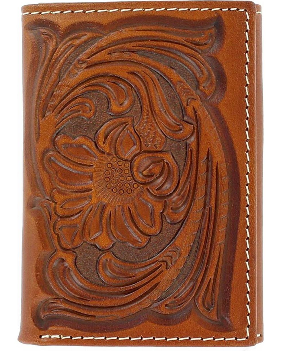Nocona Men's Floral Handtooled Tri-Fold Wallet, Tan, hi-res