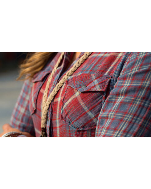 Ryan Michael Women's Double Face Plaid Shirt , Indigo, hi-res