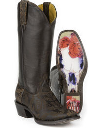 Tin Haul Women's Fillygree with Red Rose Steer Sole Cowgirl Boots - Square Toe, , hi-res