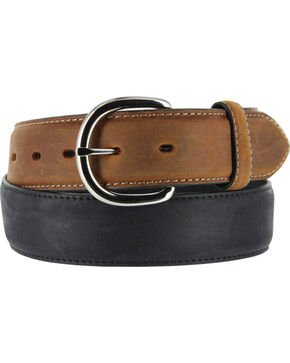 Brighton Men's Black Brass Western Leather Belt , Black, hi-res