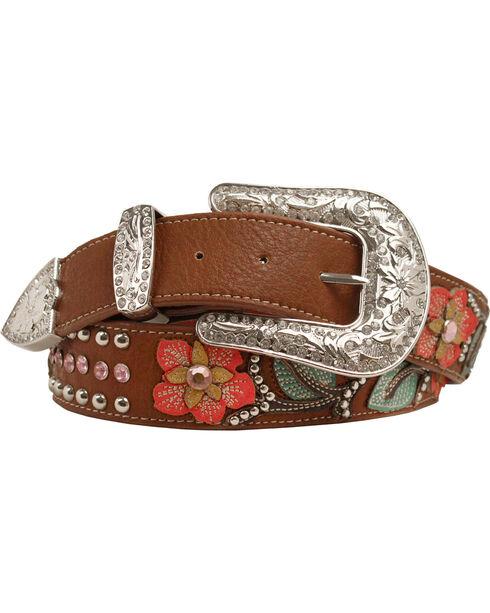 Blazin Roxx Floral Studded Belt, Tan, hi-res