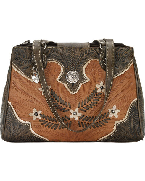 American West Women's Desert Wildflower Multi-Compartment Tote, Tan, hi-res