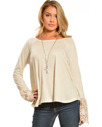 Black Swan Women's Drizzle Long Sleeve Lace Top, Ivory, hi-res