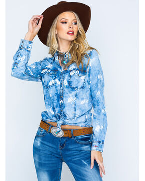 Ryan Michael Women's Indigo Bucking Horse Shirt , Indigo, hi-res