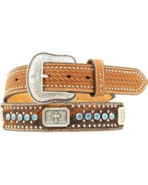 Nocona Rectangle Concho & Rhinestone Belt, , hi-res