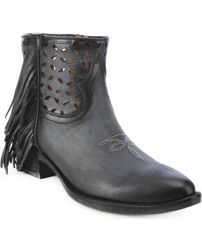 Circle G Women's Fringe Cut-Out Western Booties, Black, hi-res