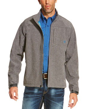 Ariat Men's Logo Softshell Jacket, Charcoal, hi-res