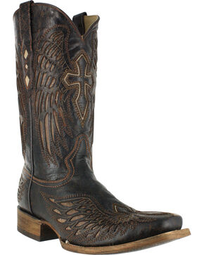 Corral Men's Square Toe Wing and Cross Western Boots, Black, hi-res