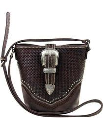 Trinity Ranch Women's Coffee Basketweave Handbag , , hi-res