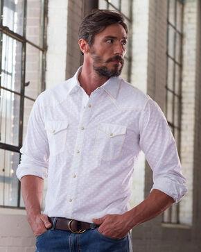 Ryan Michael Men's White Clipped Jacquard Shirt , White, hi-res