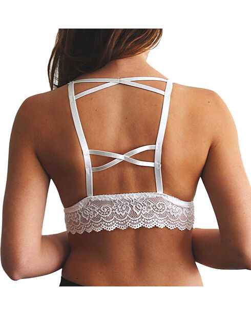 Fornia Women's Lace Trim Padded Bralette, White, hi-res