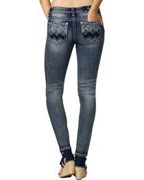 Miss Me Women's Indigo Aztec Embellished Mid-Rise Jeans - Skinny, , hi-res