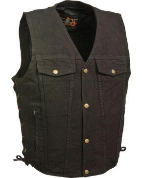 Milwaukee Leather Men's Side Lace Denim Vest w/ Chest Pockets, Tan, hi-res