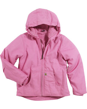 Carhartt Girls' Sherpa Lined Canvas Jacket, Pink, hi-res