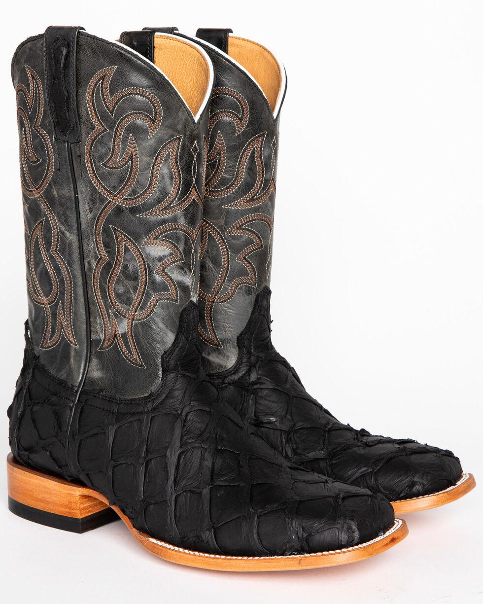 Cody James Men's Matte Black Pirarucu Exotic Boots - Square Toe, Black, hi-res