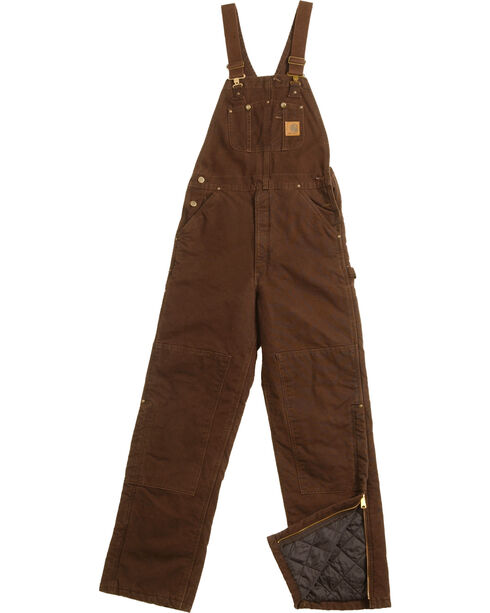 Carhartt Sandstone Duck Bib Work Overalls, Dark Brown, hi-res