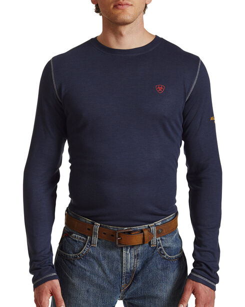Ariat Flame Resistant Polartec Baselayer Long Sleeve T-Shirt, Navy, hi-res