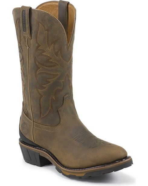 Justin Men's Hybred Waterproof Western Work Boots, Bay Apache, hi-res